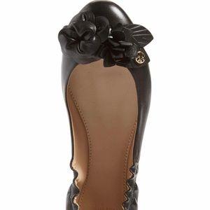 Tory Burch Blossom Ballet Flat Black Size 7 NIB